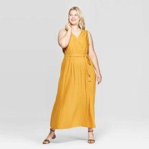 Ava & Viv, Pleated Maxi Dress, Yellow, 3X